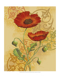 Poppies on Gold II Premium Giclee Print by Louise Max