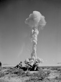 US Marines in Battle Exercises During Atomic Bomb Testing Photo