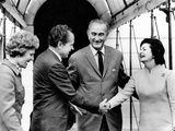 President Lyndon and Lady Bird Johnson Greet President-Elect, Richard Nixon and Wife Pat Nixon Photographic Print