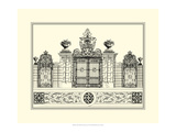 Crackled B&W Grand Garden Gate IV Giclee Print by O. Kleiner