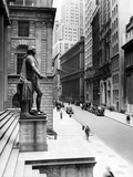 Wall Street Is Virtually Deserted in Front of the US Sub-Treasury Building Photographic Print