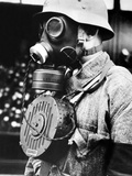 Hungarian Soldier Wearing New Gas Mask with Microphone to Enable Conversation, Nov 10, 1939 Photographic Print