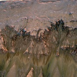 Mars Landscape Showing Flows That Appear in Spring and Summer on a Slope Inside Mars' Newton Crater Photographic Print