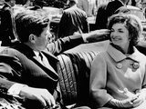 President Kennedy Tidies His Wife&#39;s Hair Photographic Print