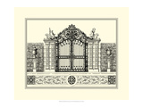 Crackled B&W Grand Garden Gate II Premium Giclee Print by O. Kleiner