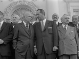 Pres Dwight D Eisenhower with Senate Majority Leader Lyndon Johnson During Luncheon, Mar 31, 1955 Photographic Print