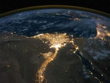 Night View of the Eastern Mediterranean Sea Impressão fotográfica
