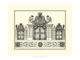 Crackled B&W Grand Garden Gate I Premium Giclee Print by O. Kleiner