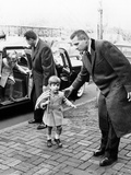 Young John and Caroline Kennedy with Secret Service Men Entering Temporary Home Photo