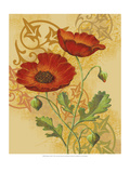 Poppies on Gold I Premium Giclee Print by Louise Max