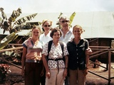 Congressman Leo Ryan with Phyllis, Judy, and Patty Houston in Jonestown on Nov 18, 1978 Posters