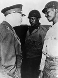 General Dwight Eisenhower Talking with Two African American Soldiers at Port of Cherbourg, France Photographic Print
