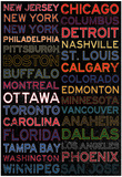 National Hockey League Cities Colorful Pôsters