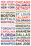 National Hockey League Cities on White Affiche