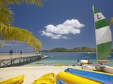 Jetty, Boats and Hobie Cat, Plantation Island Resort, Malolo Lailai Island, Mamanuca Islands, Fiji Photographic Print by David Wall