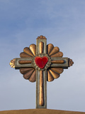 Gilded Cross Atop of a Roman Catholic Church in Chimayo, New Mexico, USA Photographic Print by Luc Novovitch