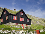 Old Farm House with Sod Roof, Kirkjubor Village, Faroe Islands, Denmark Photographic Print by Cindy Miller Hopkins