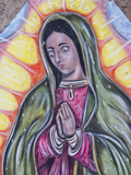 Painting of Virgin of Guadalupe on Outside Wall of Restaurant, Chimayo Sanctuary, New Mexico, USA Photographic Print by Luc Novovitch