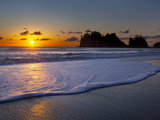 A Wave Rolls Up the Beach at Sunset at La Push, Washington, USA Photographic Print by Gary Luhm