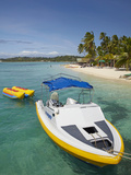 Powerboat and Banana Boat, Plantation Island Resort, Malolo Lailai Island, Mamanuca Islands, Fiji Photographic Print by David Wall