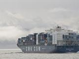 Laden Container Ship, Strait of Juan De Fuca, Washington, USA Photographic Print by Trish Drury