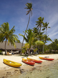Kayak on Beach and Bure, Plantation Island Resort, Malolo Lailai Island, Mamanuca Islands, Fiji Photographic Print by David Wall