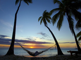 Hammock and Sunset, Plantation Island Resort, Malolo Lailai Island, Mamanuca Islands, Fiji Photographic Print by David Wall