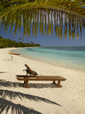Beach and Lounger, Plantation Island Resort, Malolo Lailai Island, Mamanuca Islands, Fiji Photographic Print by David Wall
