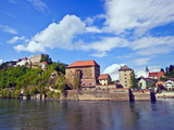 The Danube River Flows in Front of Veste Oberhaus Castle, Passau, Germany Photographic Print by Miva Stock