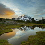 Mt. Rainier Is Reflected in a Small Tarn in Spray Park, Mt. Rainier National Park, Washington, USA Photographic Print by Gary Luhm