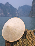 Conical Hat on Junk Boat and Karst Islands in Halong Bay, Vietnam Photographic Print by Keren Su
