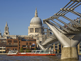 Millennium Bridge, St Pauls Cathedral, London, England Photographic Print by Alex Bartel
