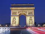 Evening Traffic around the Arc De Triomphe, Paris, France Photographic Print by William Sutton