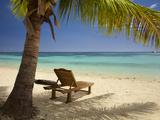 Beach and Lounger, Plantation Island Resort, Malolo Lailai Island, Mamanuca Islands, Fiji Photographic Print by David Wall