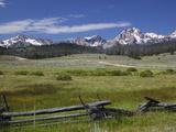 Meadow and Mountains, Sawtooth National Recreation Area, Idaho, USA Photographic Print by Jamie & Judy Wild