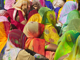 Women in Colorful Saris Gather Together, Jhalawar, Rajasthan, India Photographic Print by Keren Su