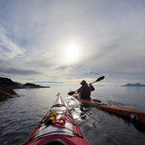 Sea Kayakers Paddle Along the Shore of Rosario Strait, San Juan Islands, Washington, USA Photographic Print by Gary Luhm
