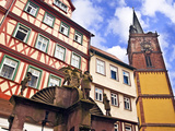 Medieval Well and Clock Tower, Wertheim, Germany Photographic Print by Miva Stock