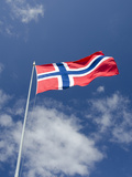 Norwegian Flag, Bergen, Norway Photographic Print by Cindy Miller Hopkins