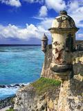 Watchtower, Fort San Felipe Del Morro, San Juan, Puerto Rico, USA, Caribbean Fotografisk tryk af Miva Stock