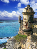 Watchtower, Fort San Felipe Del Morro, San Juan, Puerto Rico, USA, Caribbean Fotografie-Druck von Miva Stock
