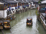 Traditional Houses and Boat on the Grand Canal, Zhujiajiao, Near Shanghai, China Photographic Print by Keren Su