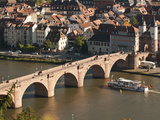 Tour Boat under Alte Brucke, Neckar River Heidelberg Castle and Old Town, Heidelberg, Germany Photographic Print by Michael DeFreitas