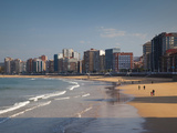 Buildings on Playa De San Lorenzo Beach, Gijon, Spain Photographic Print by Walter Bibikow