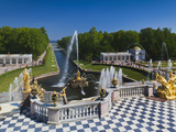 Grand Cascade Fountains, Peterhof, Saint Petersburg, Russia Photographic Print by Walter Bibikow