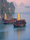 Junk Boat and Karst Islands in Halong Bay, Vietnam Fotografiskt tryck av Keren Su