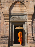 Monk in Prasat Kravan with Brick Structure, Angkor Wat, Cambodia Photographic Print by Keren Su