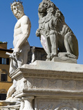 Neptune and Marzocco by Ammannati, Piazza Della Signoria, UNESCO World Heritage Site, Italy Photographic Print by Nico Tondini