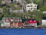 Waterfront Boat Garage Homes, Bergen, Norway Photographic Print by Cindy Miller Hopkins