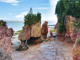Lovers Arch and Bear Rock Sea Stacks, Hopewell Rocks Bay, Hopewell Cape, New Brunswick, Canada Photographic Print by Miva Stock